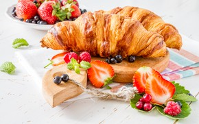 Picture berries, strawberry, cakes, croissants