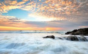 Picture sand, sea, wave, beach, summer, the sky, sunset, stones, shore, summer, beach, sea, sunset, blue, ...