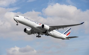 Picture Landing, Airbus, Air France, Wing, Airbus A350-900, Chassis, A passenger plane, Airbus A350 XWB