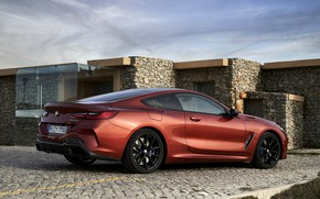 Picture stones, coupe, pavers, BMW, Coupe, 2018, 8-Series, dark orange, M850i xDrive, Eight, G15