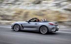 Picture road, grey, background, blur, BMW, Roadster, BMW Z4, M40i, Z4, 2019, G29