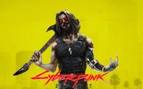 Picture guitar, cyborg, Cyberpunk 2077, Cyberpunk, Johnny Silverhand