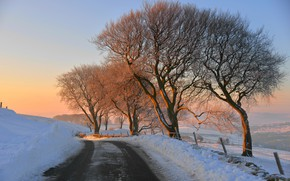 Picture winter, road, sunset