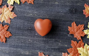 Picture autumn, leaves, love, background, heart, colorful, love, heart, wood, background, autumn, leaves, romantic, autumn, maple