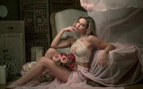 Picture look, girl, flowers, room, bed, skirt, chair, top, curls, barefoot, Tatjana Pratsch