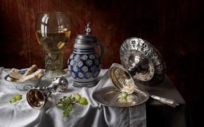 Picture wine, glass, bread, still life, gooseberry