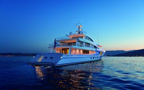 Picture sea, the evening, yacht, 57.70 m, beauty with smart hybrid, AMELS