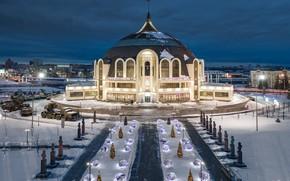 Picture winter, the city, the evening, lighting, Tula, Ilya Garbuzov, Музей оружия