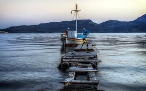 Picture sea, boat, pier