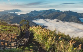 Picture Nature, Clouds, Mountains, Ladder, Landscape