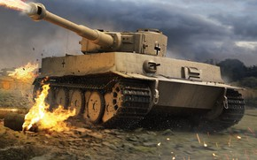 Picture Germany, Fire, Tiger 1, Pz.VI Tiger Ausf. H1