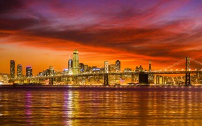 Wallpaper USA, river, the sky, night, lights, home, San Francisco, bridge