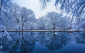 Picture winter, frost, snow, trees, branches, pond, Park, reflection, promenade, pond