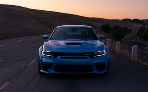 Picture sunset, the evening, Dodge, front view, Charger, Hellcat, SRT, Widebody, 2019, Daytona 50th Anniversary