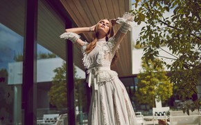 Picture girl, the sun, pose, figure, dress, beauty, Josephine Skriver