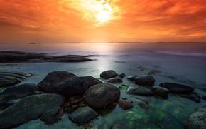 Picture sea, the sun, sunset, stones, shore, bright colors, boulders
