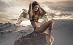 Wallpaper the sky, stone, fantasy, hair, nature, wings, snow, Topless, pose, clouds, sitting, girl, cross, body, ...
