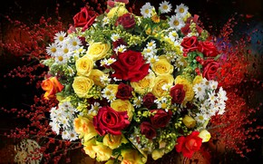 Picture berries, roses, chamomile, Bouquet