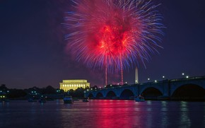 Picture Washington, fireworks, USA, Independence Day, The Lincoln Memorial, The 4th of July