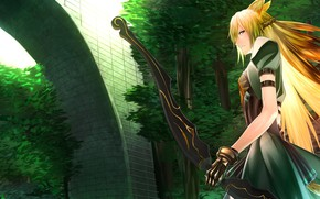 Picture anime, bow, art, Bow, Archery, Fate/Grand Order, Red Archer