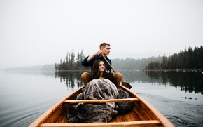 Picture forest, girl, lake, photo, boat, guy, Berty Mandagie