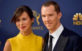 Picture two, smile, Benedict Cumberbatch, Benedict Cumberbatch, wife, Sophie Hunter
