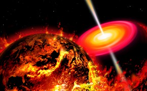 Picture space, fire, earth, Apocalypse, planet
