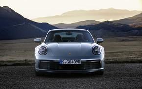 Picture mountains, coupe, plain, 911, Porsche, Parking, front view, Carrera 4S, 992, 2019