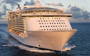 Picture The ocean, Sea, White, Liner, Cruise, Ship, Journey., Voyage