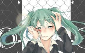 Picture face, resentment, hands, vocaloid, Hatsune Miku, Vocaloid, tears, blue hair, art, the patch, two tails, …