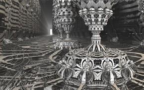 Wallpaper the basement, basement, fractal art, 3D art, fractal art, geometry shapes