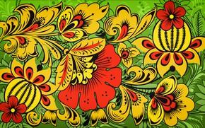 Picture Flowers, Pattern, Style, Background, Painting, Art, Khokhloma, Khokhloma painting, madeinkipish, Ivan Ivanovich, Russian painting