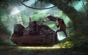 Picture Figure, Machine, Jungle, Fantasy, DeLorean DMC-12, Art, Art, DeLorean, DMC-12, Concept Art, Back to the …