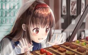 Picture sweets, schoolgirl, shop