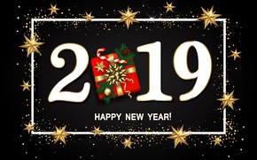 Picture gold, New Year, figures, golden, black background, black, background, New Year, Happy, glitter, 2019