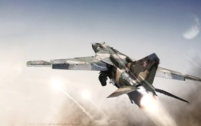 Wallpaper USSR, The MiG-23, by ABiator, fighter, Soviet fighter, Soviet multipurpose fighter, Alexander Iartsev, Art, Nozzle, ...