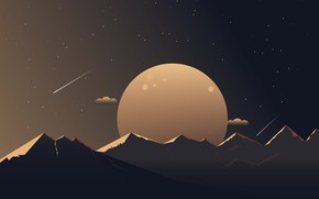 Picture minimalism, planet, stars, mountains