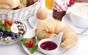 Picture berries, Breakfast, jam, cereal, raisins, croissants, oatmeal