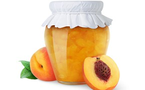 Picture leaves, white background, peach, jam