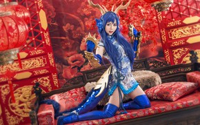 Wallpaper look, girl, decoration, blue, red, face, pose, style, weapons, background, room, sofa, blue, patterns, feet, ...