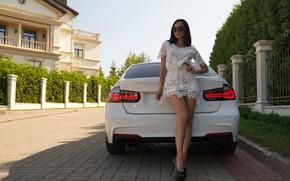 Picture machine, house, Girl, BMW, figure, glasses, shoes, legs, Alex Bazilev, Valeriy Soldatov