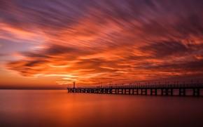 Picture the sun, sunset, the ocean, pier, Shore, promenade