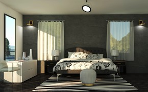 Picture lamp, room, Windows, bed, interior, bed, bedroom, lamps
