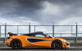 Picture coupe, McLaren, in profile, 2020, V8 twin-turbo, 620R, 620 HP, 3.8 L.