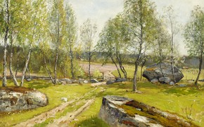 Picture 1900, Swedish artist, Swedish painter, Olof Hermelin, Birches in the yard, Birch trees at the …