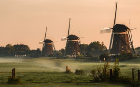 Picture field, the sky, trees, fog, morning, the fence, mill, Netherlands, columns, province, windmills, windmill
