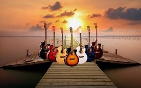 Picture pier, sunset., Guitar