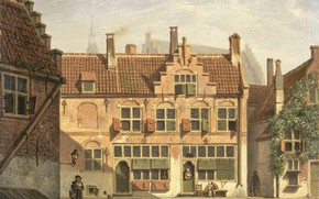 Picture oil, picture, canvas, the urban landscape, Johannes Jelgerhuis, Johannes Olherwise, Street in Amersfoort, 1826