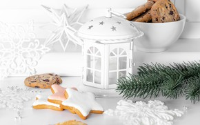 Picture snowflakes, cookies, Christmas, lantern, New year, spruce branch