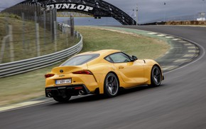 Picture yellow, lawn, coupe, speed, track, turn, Toyota, Supra, the fifth generation, mk5, double, 2019, GR …
